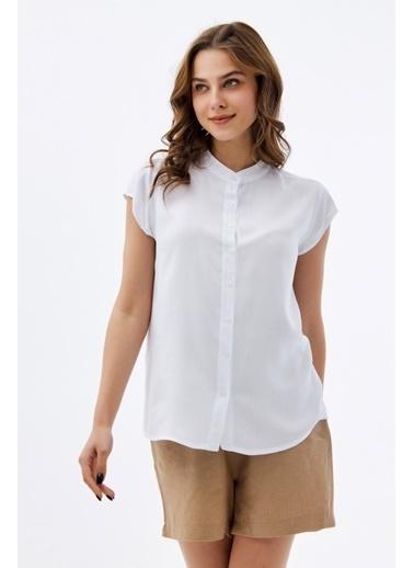 Pattaya Pattaya Kadın Hakim Yaka Kısa Kollu Gömlek P21S110-1173 Beyaz